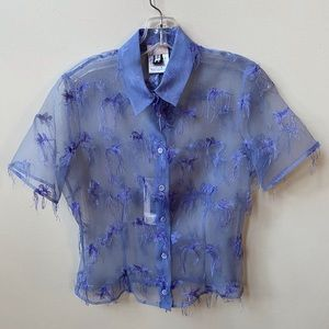 VERSUS VERSACE Sheer Blue short sleeve blouse